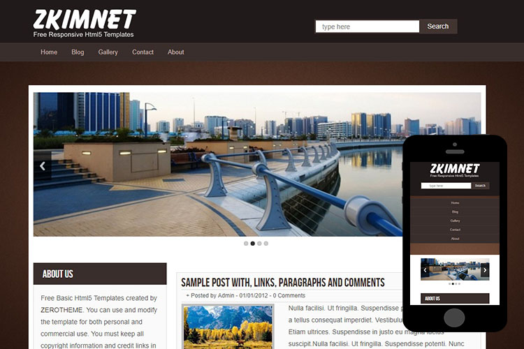 zKimnet Free Html5 Website Template