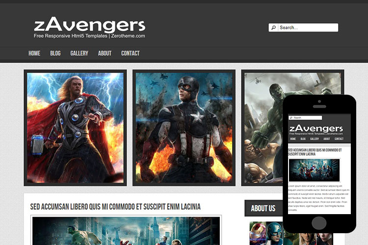 zAvengers Free Html5 Website Template