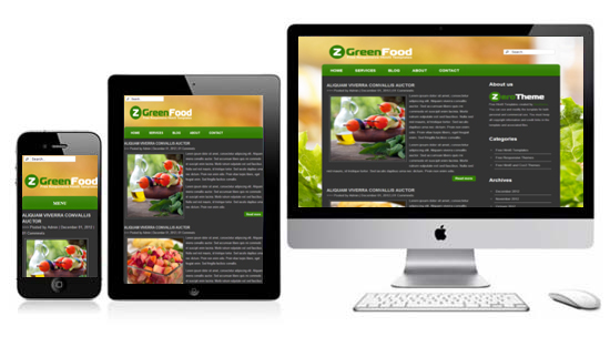 Zgreenfood free responsive html5 theme zerotheme for Interior design responsive website templates edge free download
