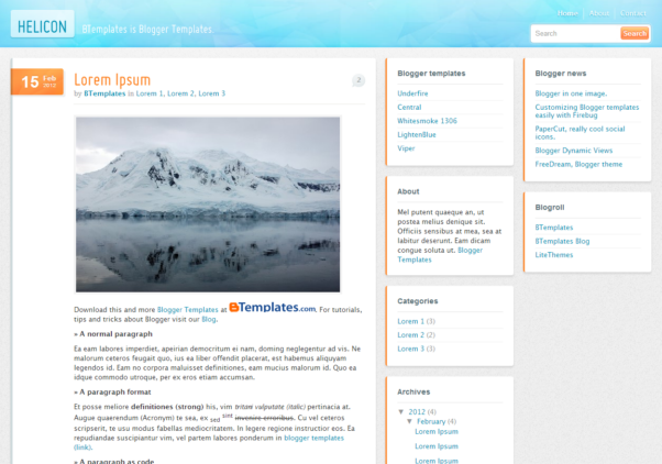 Helicon [Free blogger responsive Templates]