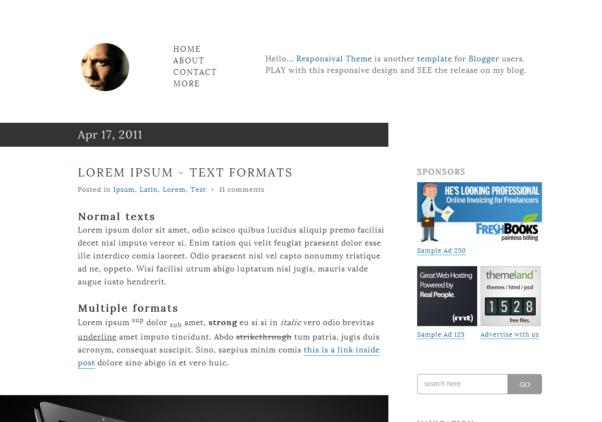 Responsival Theme [Free Blogger Responsive Templates]
