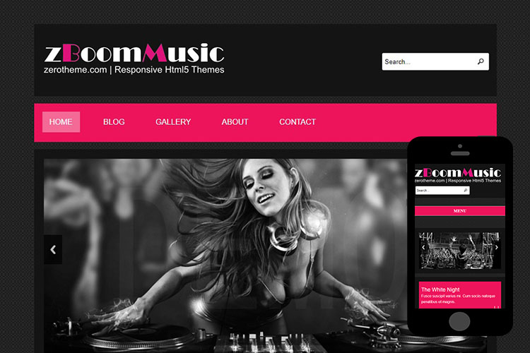 ZBoomMusic Free Responsive Html Theme Zerotheme - Music website templates