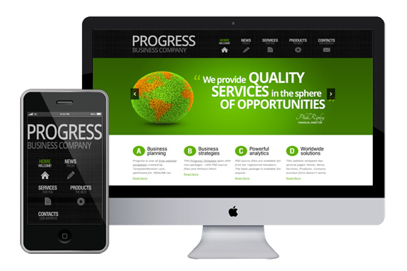 Zprogress free responsive html5 theme zerotheme for Interior design responsive website templates edge free download