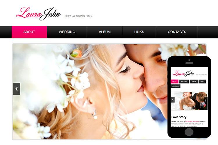 zWeddingPage Free Html5 Website Template