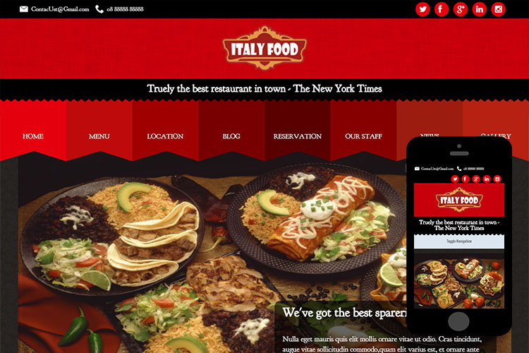 zItalyFood Free Html5 Website Template