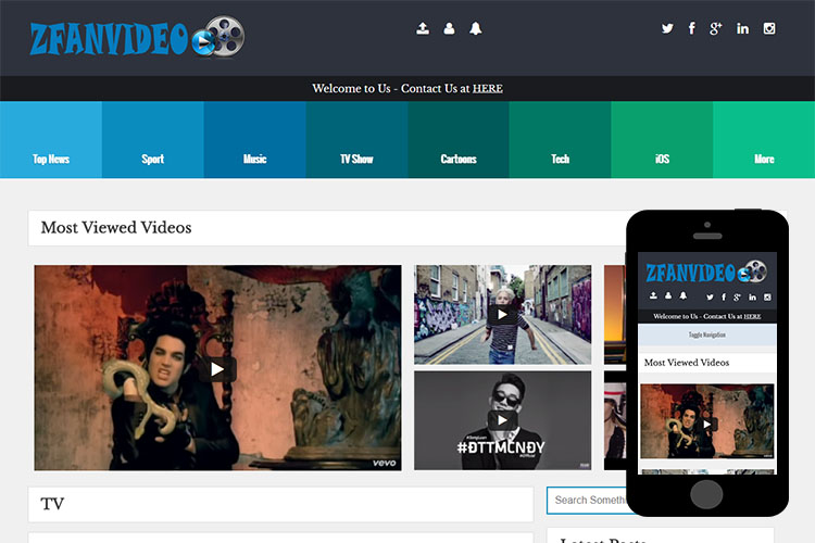 zFanVideo Free Html5 Website Template