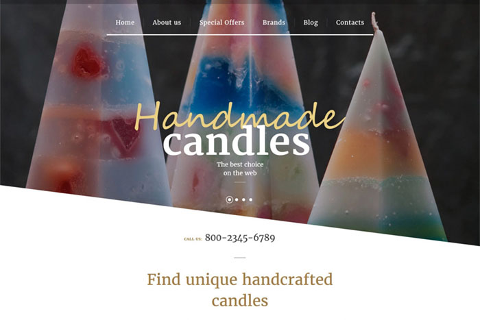 Handmade Candles - Free Bootstrap Opencart Templates