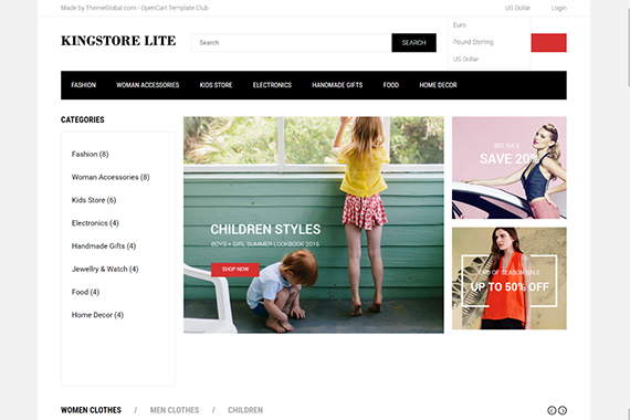 KingStore Lite Free Opencart Themes