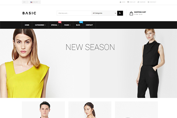 basic free fashion prestashop template