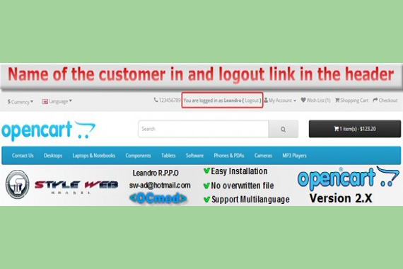 Name of the customer in and logout link in the Header